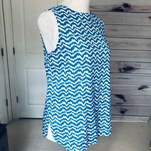 Ann Taylor Blue and White Print Sleeveless Top